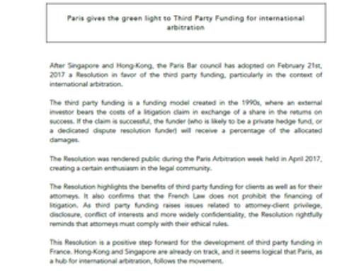 Paris donne la lumière verte à un financement tiers pour l'arbitrage international